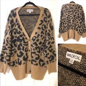 Wildfox Leopard Print Wool Cardigan